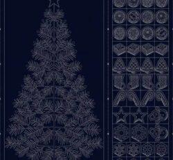 Panel Sashiko Navidad Azul marino